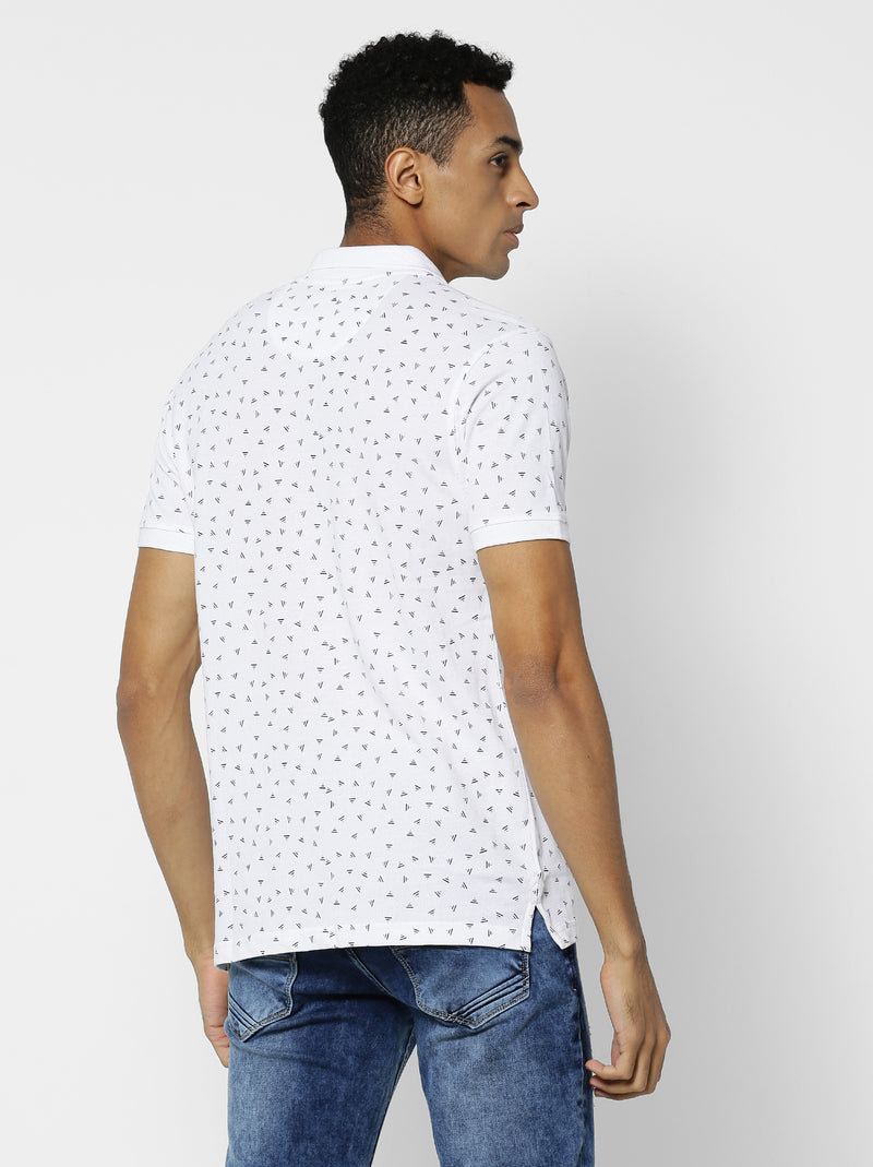 White Printed Casual T-Shirt