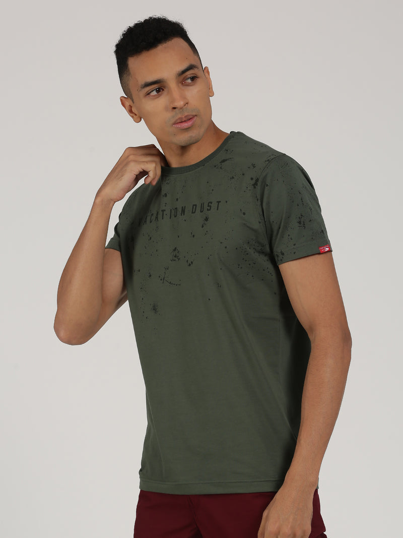 Olive Printed Short Sleeve Casual T-Shirt
