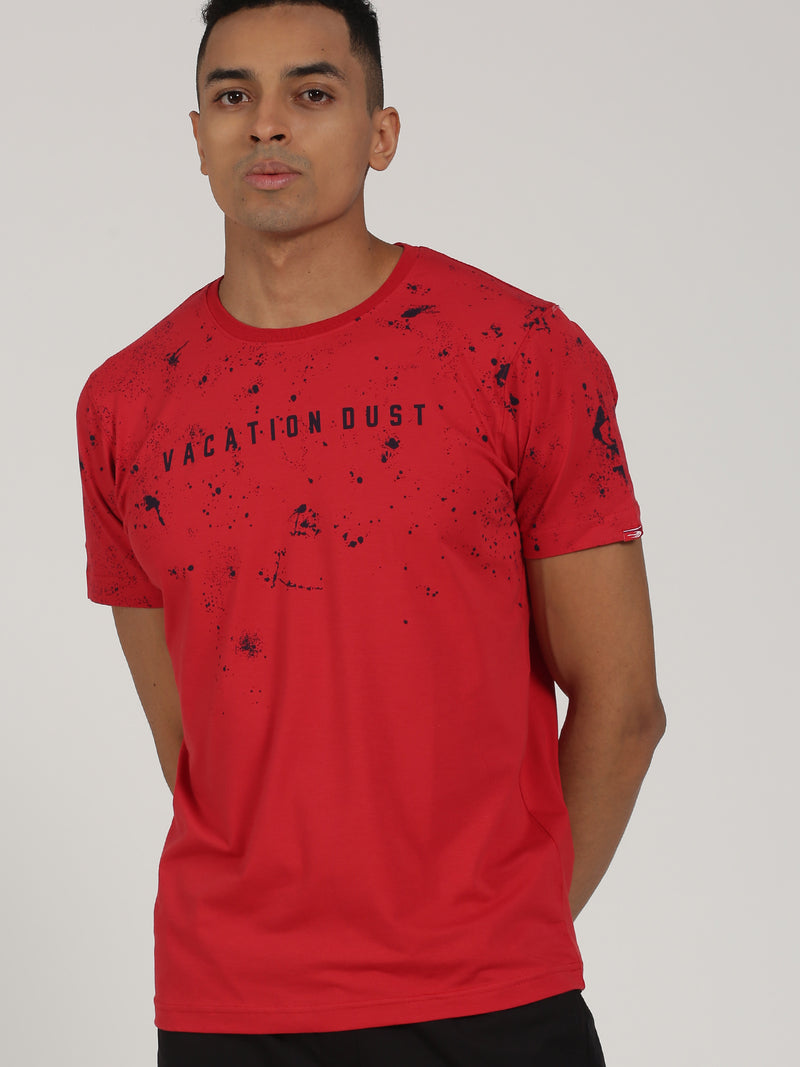 Rust Printed Short Sleeve Casual T-Shirt