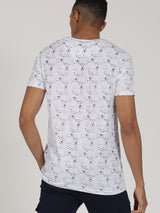 White Printed Short Sleeve Casual T-Shirt