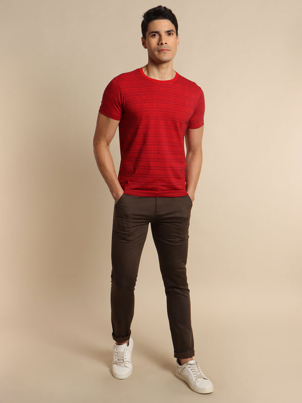 Red Printed Stretch T-Shirt