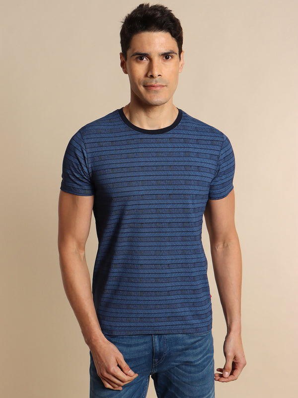 Navy Printed Stretch T-Shirt