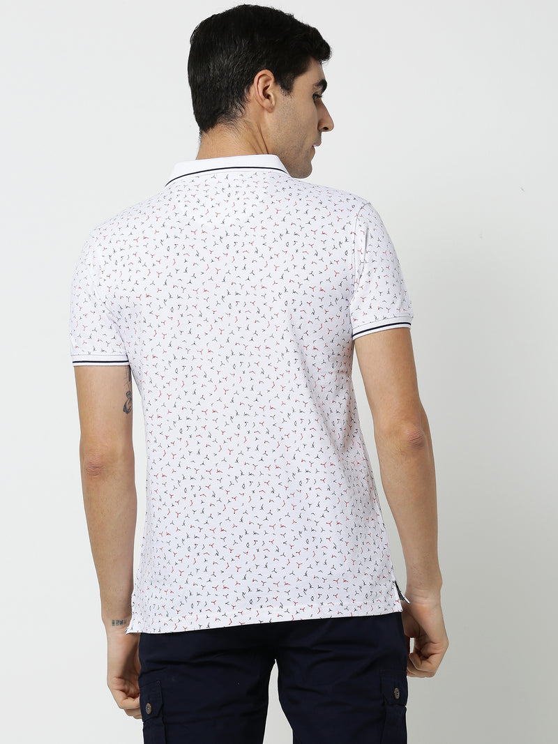White Printed Stretch Casual T-Shirt