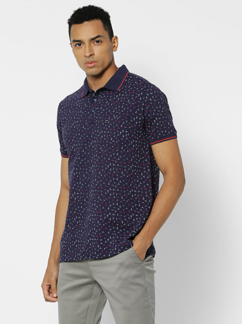 Navy Printed Stretch Casual T-Shirt