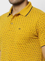 Yellow Printed Stretch Casual T-Shirt
