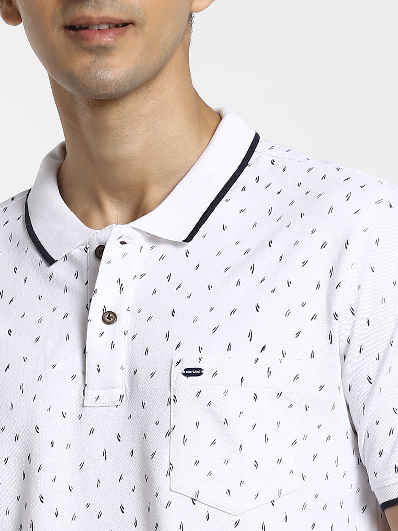 White Printed Polo T-Shirt