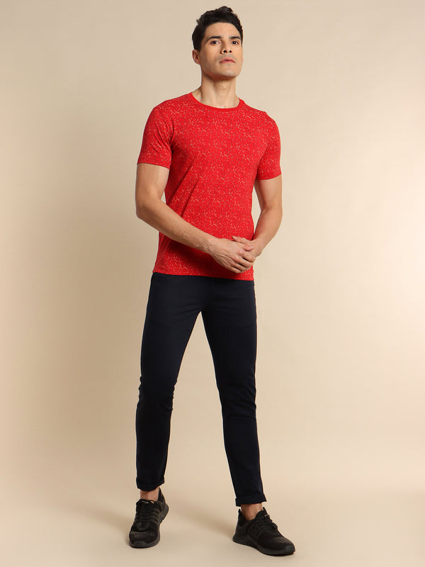 Maroon Printed Stretch T-Shirt