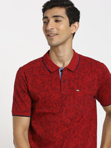 Red Printed Polo T-Shirt