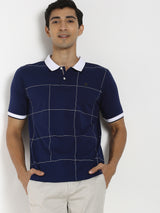 Navy Printed Polo T-Shirt