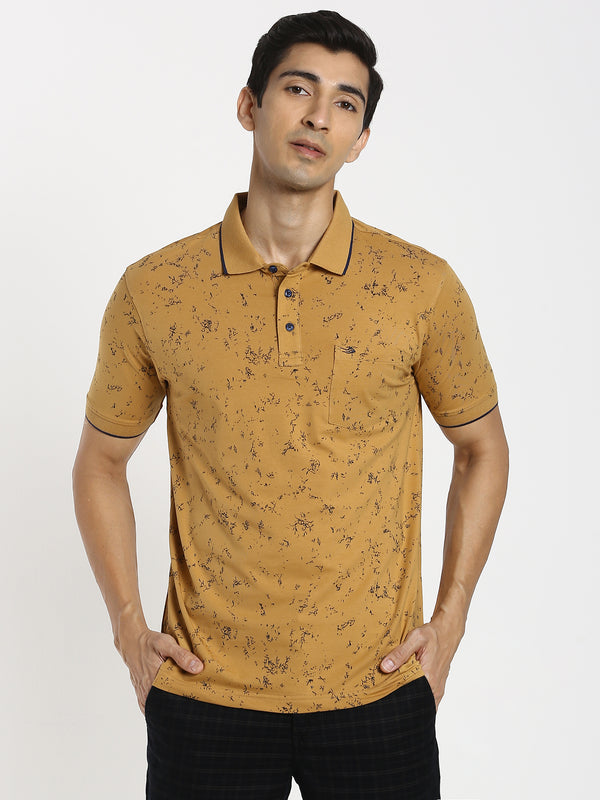 Mustard Printed Polo T-Shirt