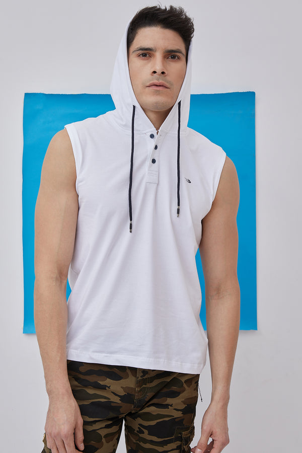 White Plain Stretch Hooded T-Shirt