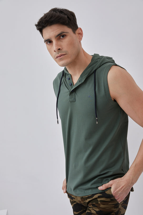 Olive Plain Stretch Hooded T-Shirt