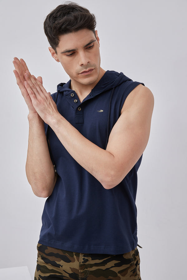 Navy Plain Stretch Hooded T-Shirt