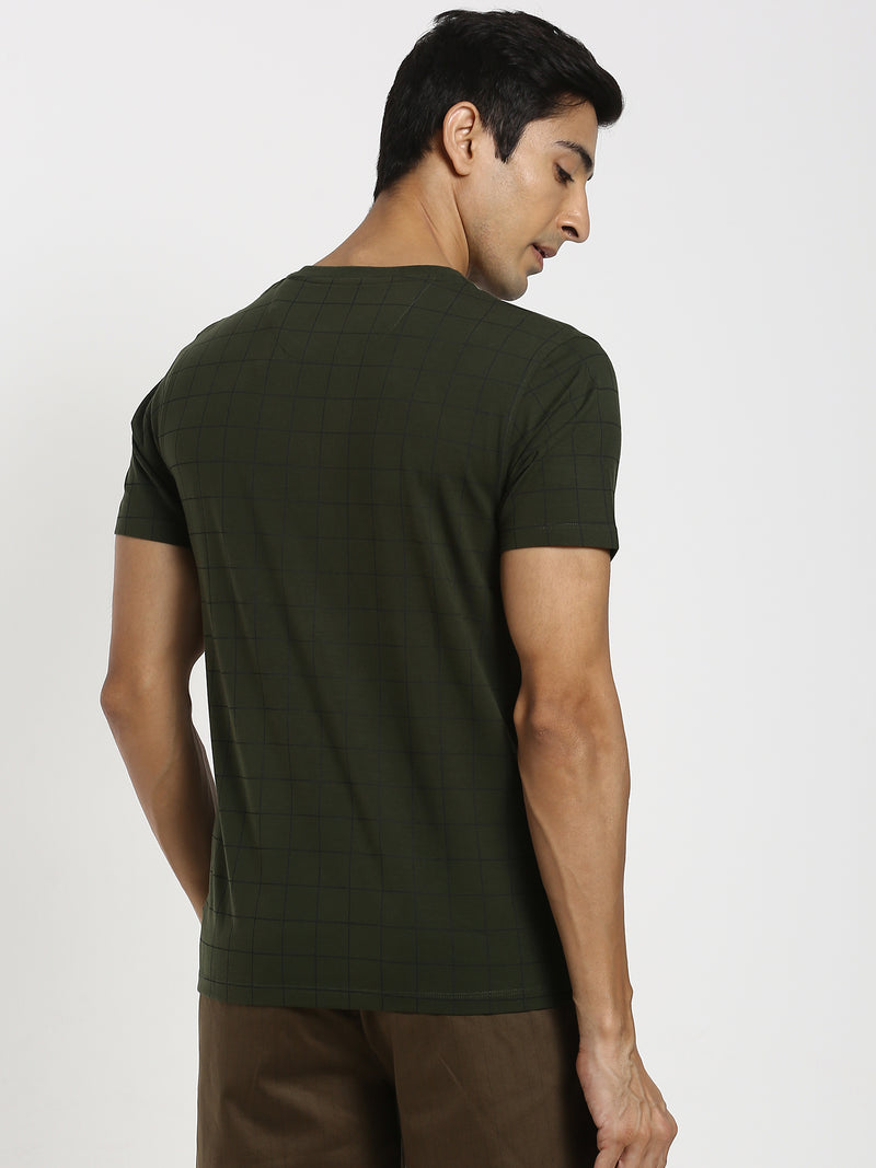 Olive Checked T-Shirt