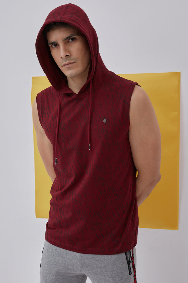 Maroon Printed Stretch Hooded T-Shirt
