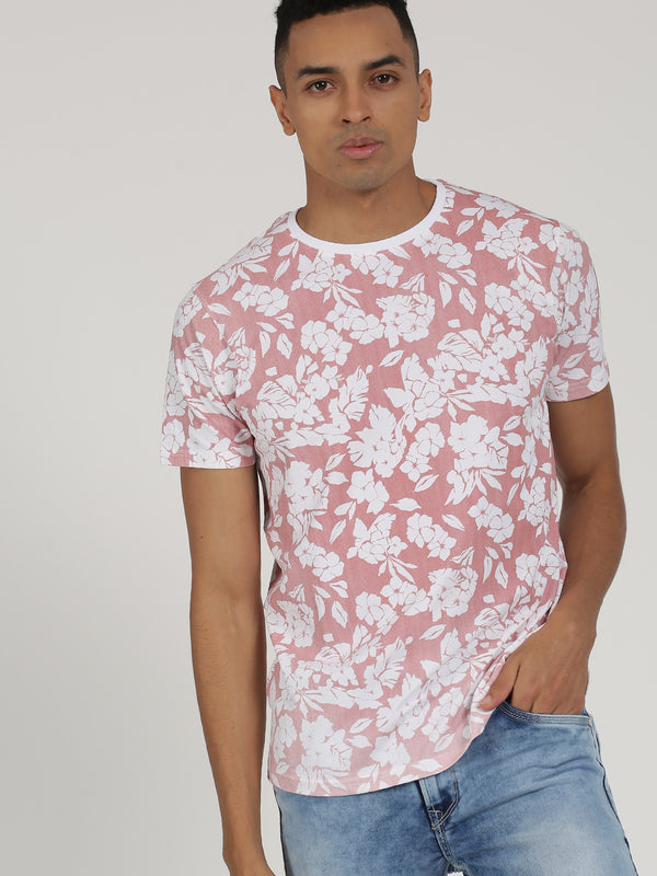 Pink Printed Short Sleeve Casual T-Shirt