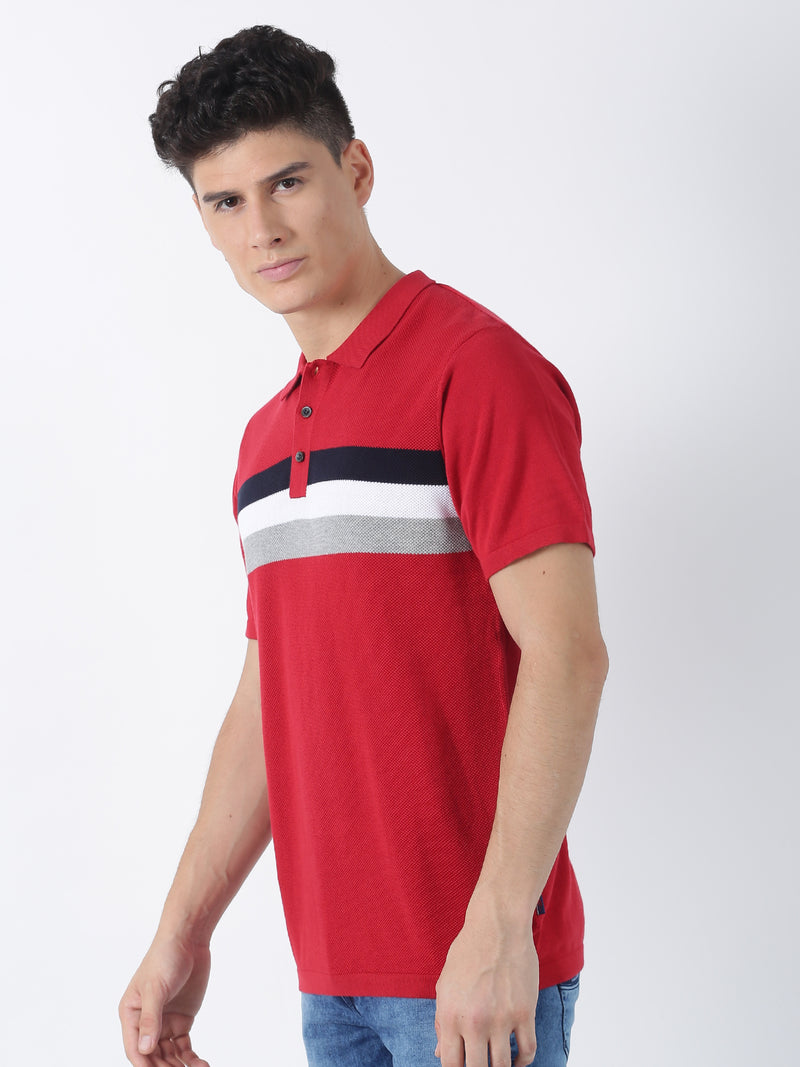 Red Striped Short Sleeve Casual T-Shirt