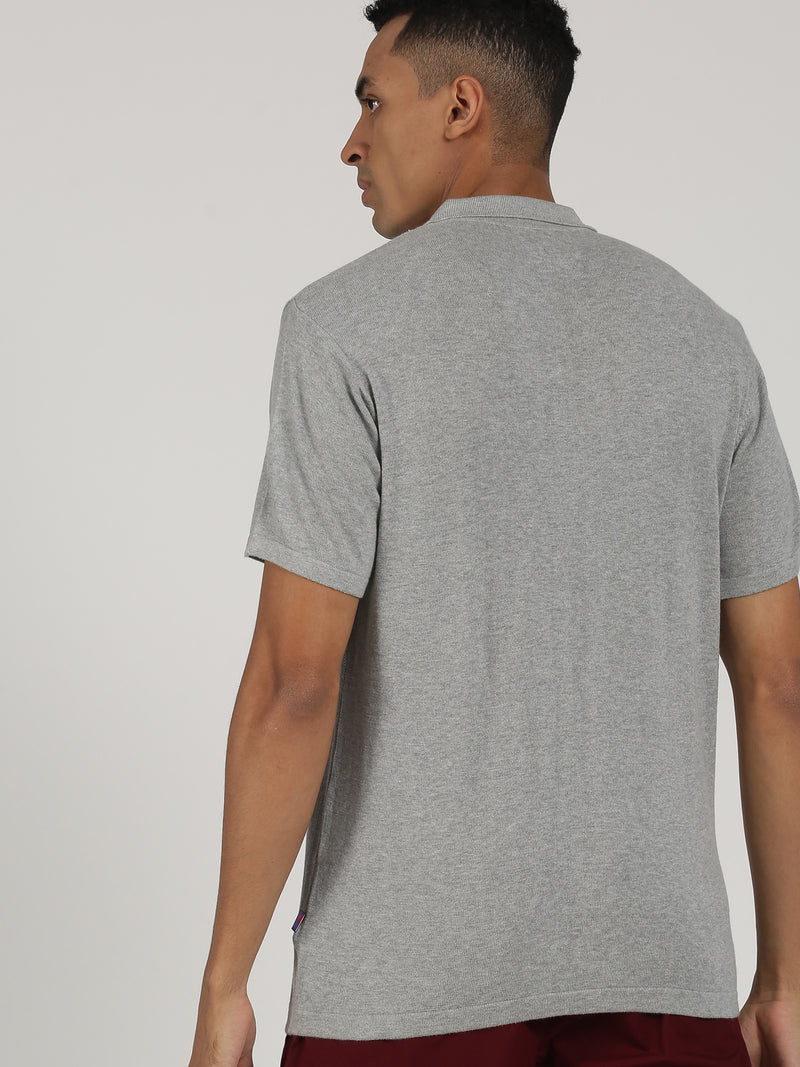 Grey Striped Short Sleeve Casual T-Shirt
