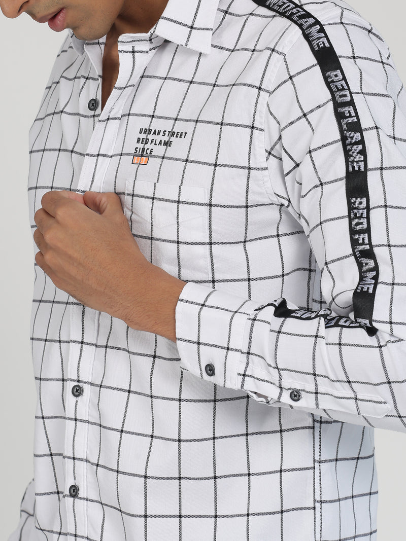 White Checked Long Sleeve Street Wear Shirt