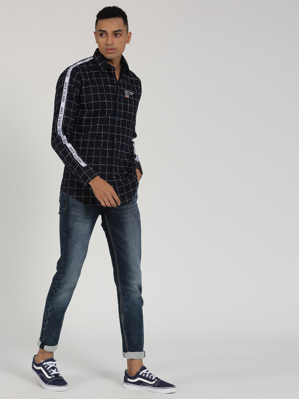 Black Checked Long Sleeve Street Wear Shirt