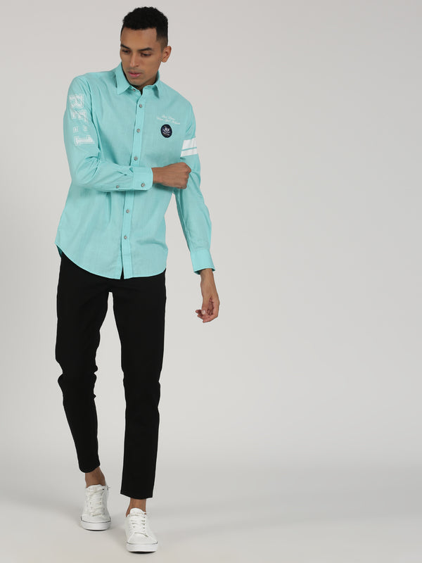 Aqua Green Plain Long Sleeve Street Wear Shirt