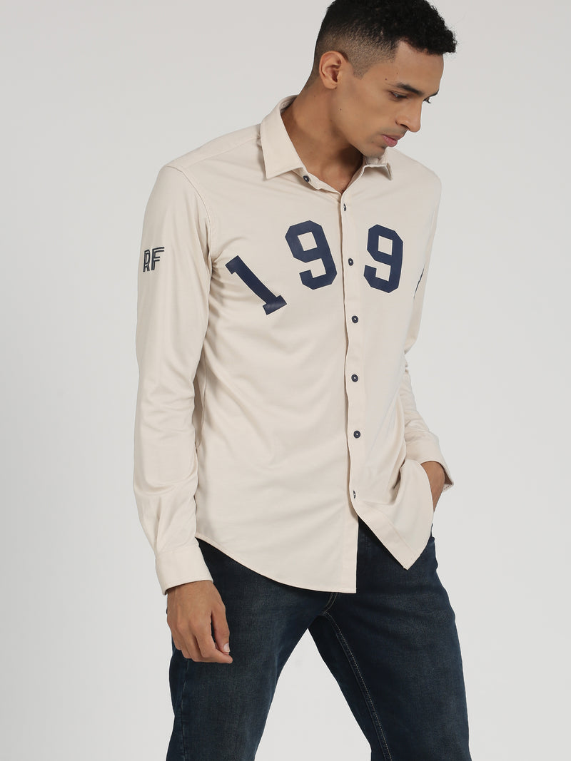 Cream Plain Long Sleeve Street Wear Shirt