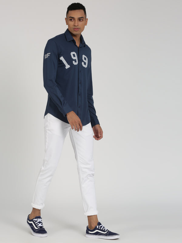 Navy Plain Long Sleeve Street Wear Shirt