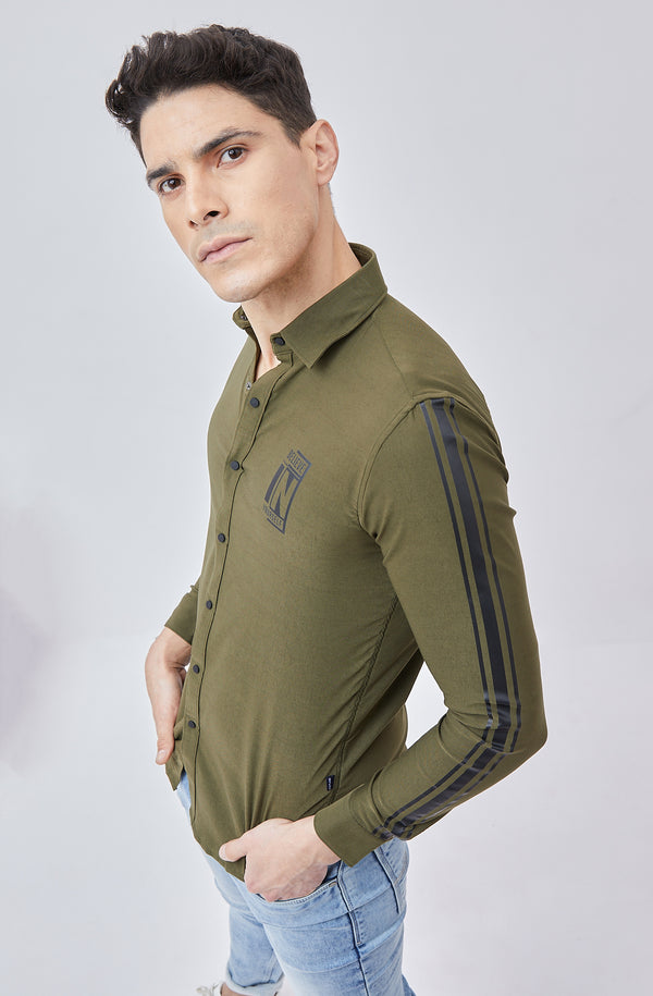 Olive Printed Stretch Street Wear Shirt