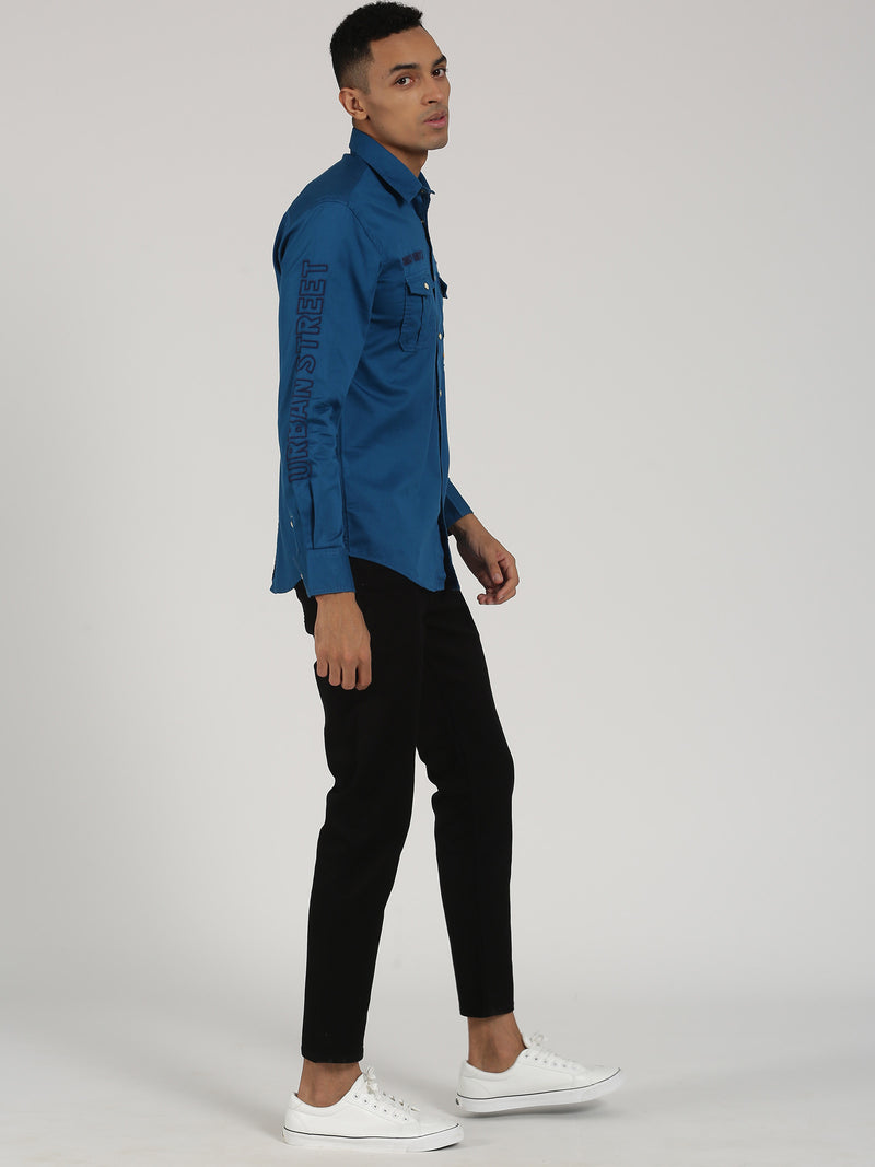 Royal Blue Plain Long Sleeve Street Wear Shirt