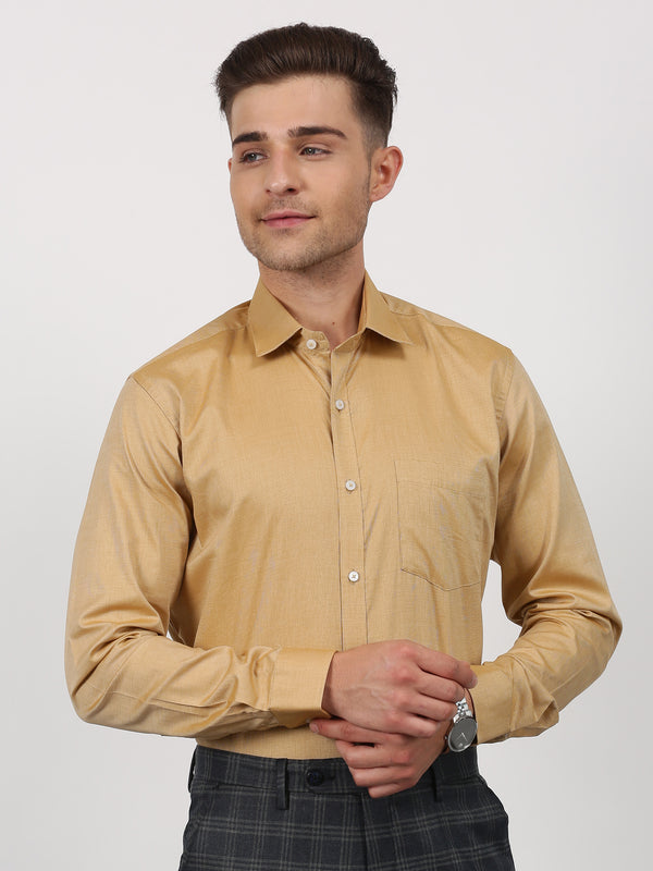 Beige Plain Long Sleeve Formal Shirt