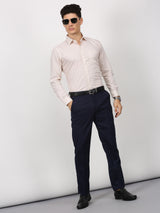 Cream Plain Long Sleeve Formal Shirt