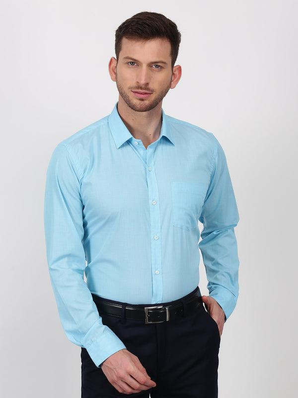 Light Blue Plain Long Sleeve Formal Shirt