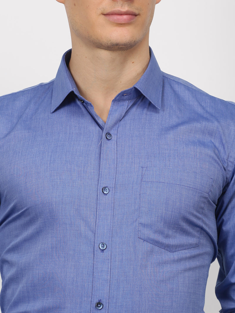 Blue Plain Long Sleeve Formal Shirt