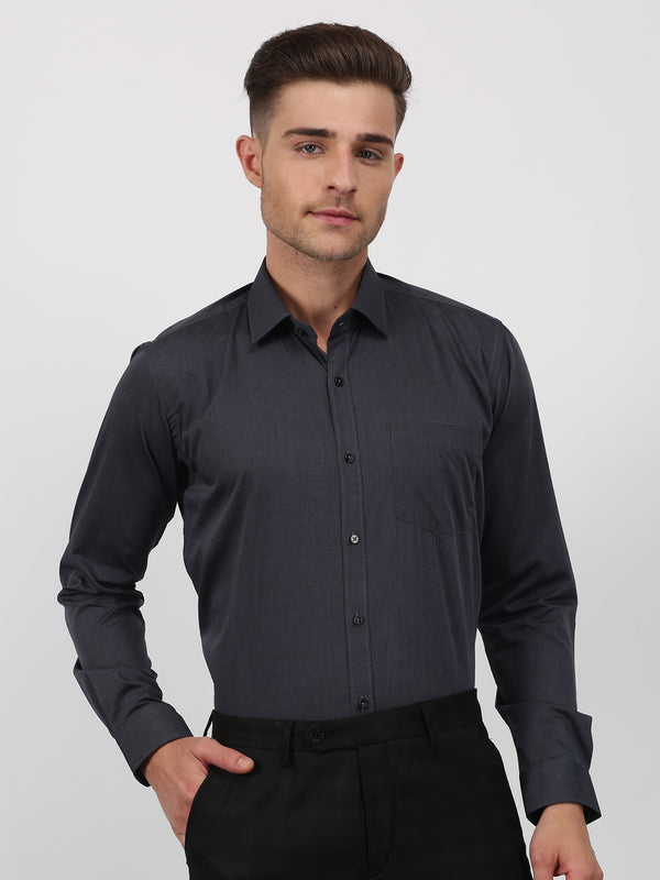 Black Plain Long Sleeve Formal Shirt