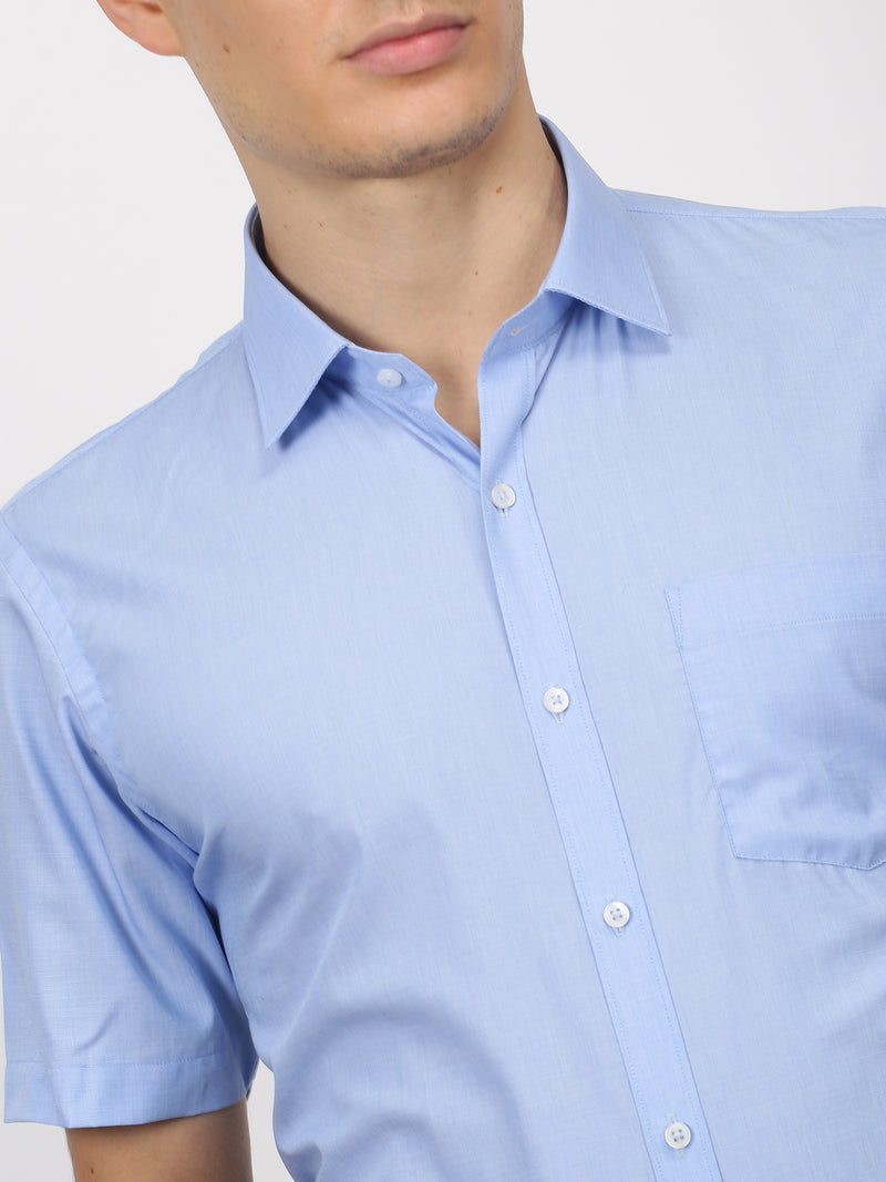 Blue Plain Short Sleeve Formal Shirt