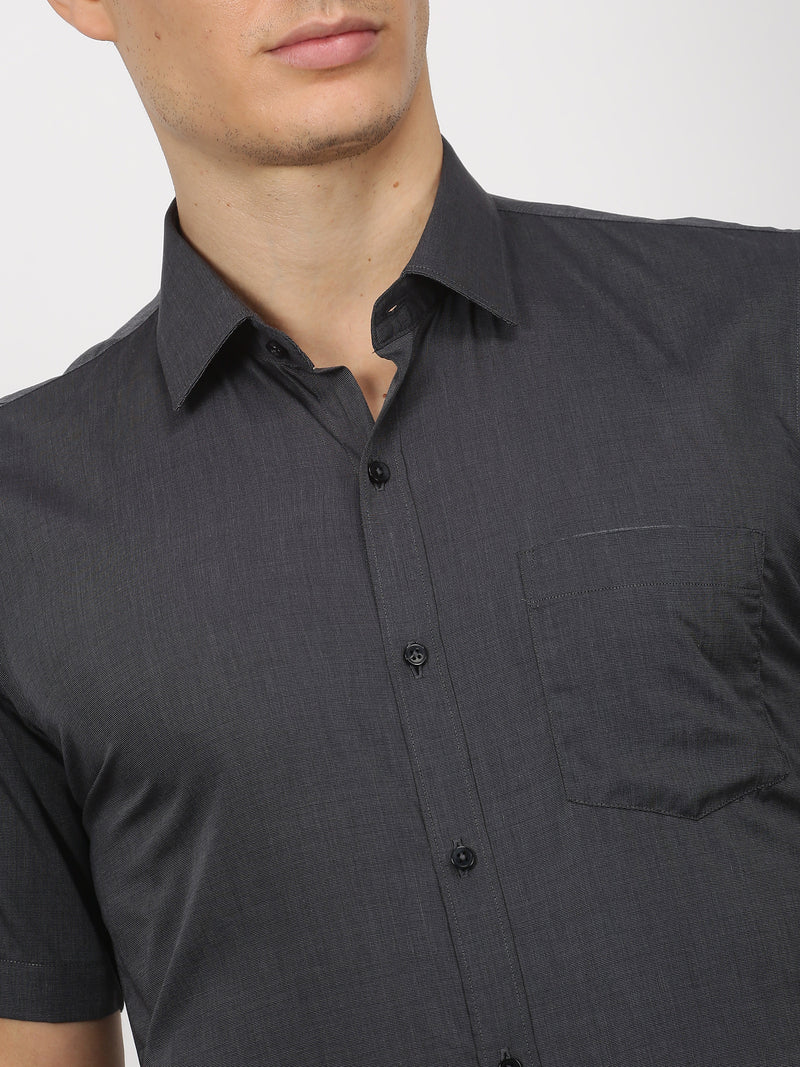 Black Plain Short Sleeve Formal Shirt