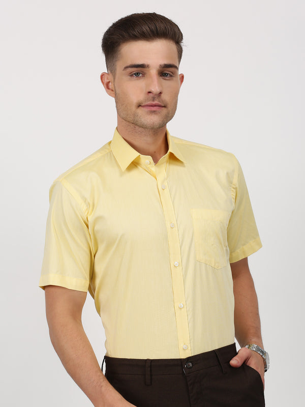 Yellow Plain Short Sleeve Formal Shirt