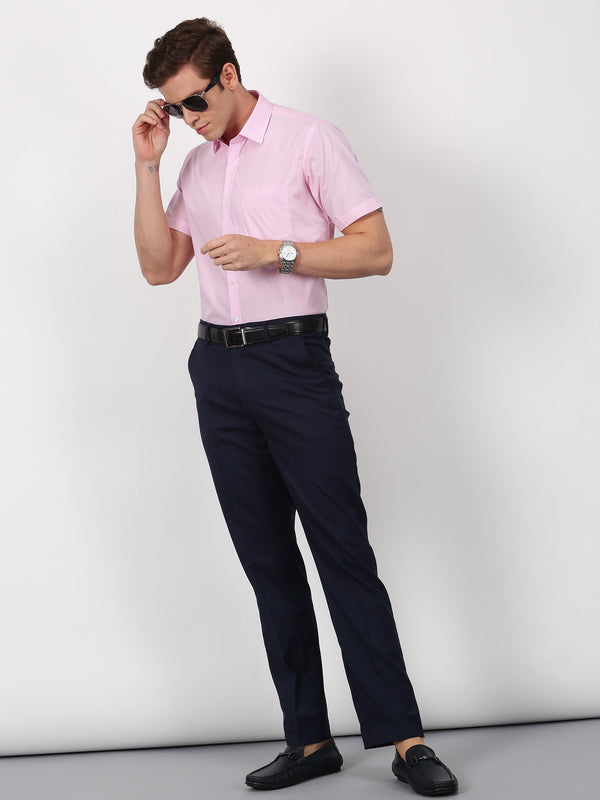 Pink Plain Short Sleeve Formal Shirt