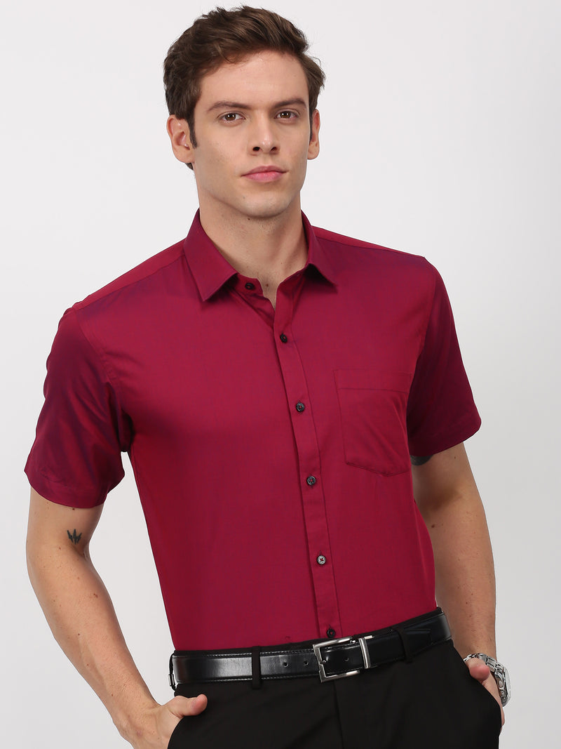 Red Plain Short Sleeve Formal Shirt