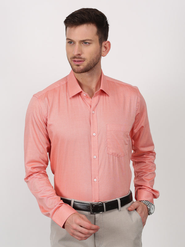Orange Plain Long Sleeve Formal Shirt