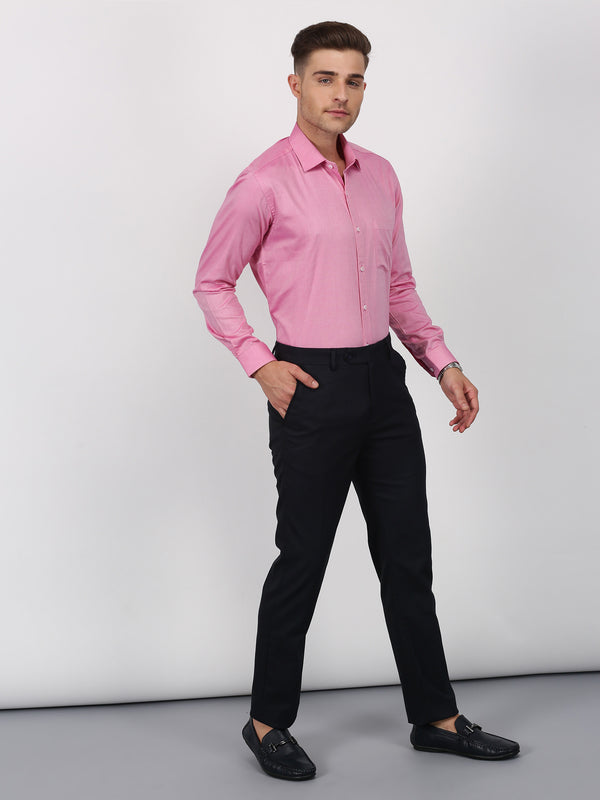 Pink Plain Long Sleeve Formal Shirt