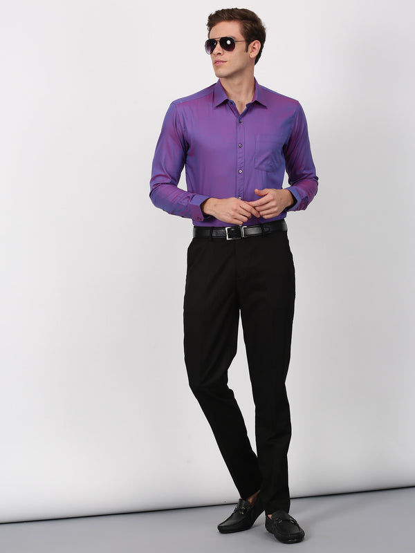 Purple Plain Long Sleeve Formal Shirt