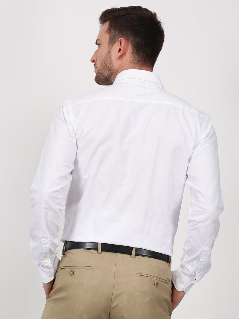 White Plain Long Sleeve Business Casual Shirt