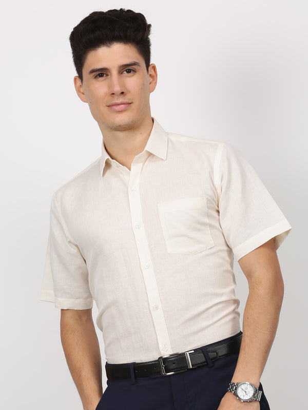 Beige Plain Short Sleeve Formal Shirt