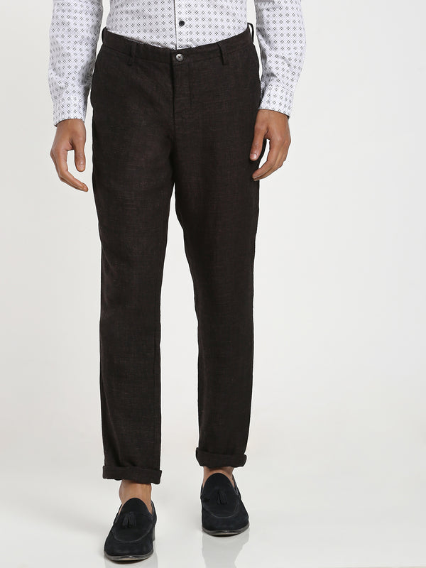 Brown Plain Linens Trouser