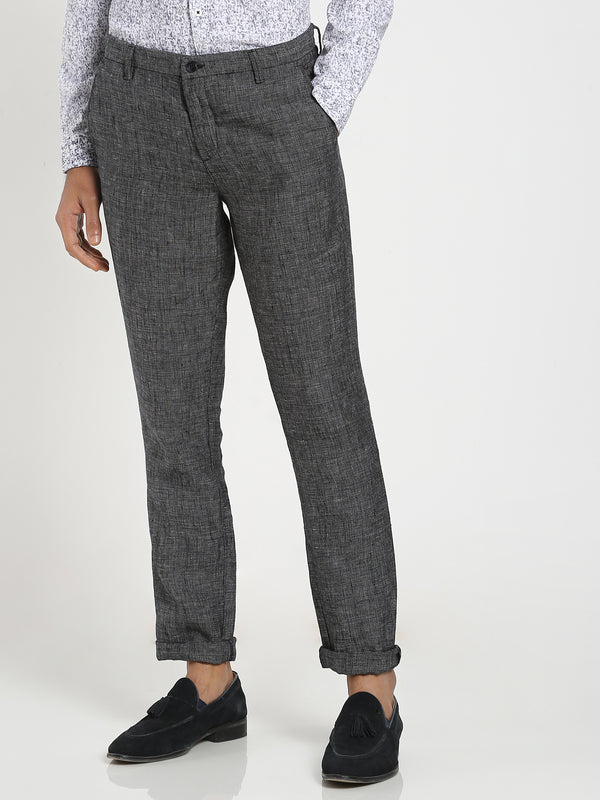 Black Plain Linens Trouser