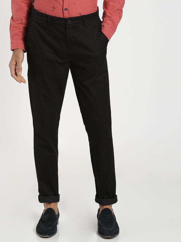 Black Checked Stretch Trouser