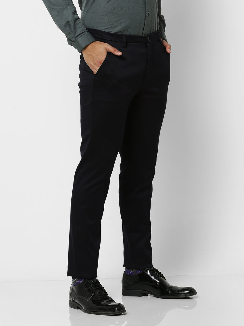 Navy Plain Stretch Sleek Fit Trouser