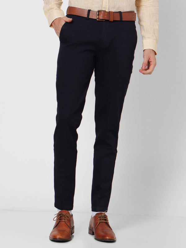 Navy  Checked Stretch Sleek Fit Trouser