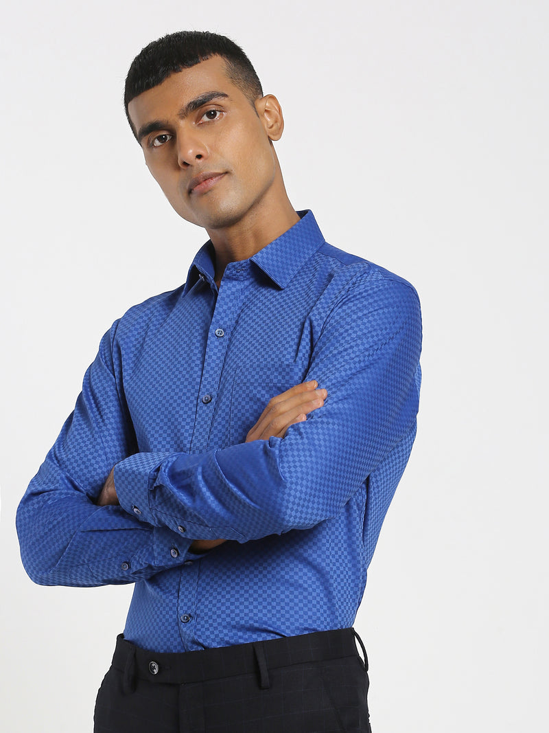 Blue Printed Formal Shirt